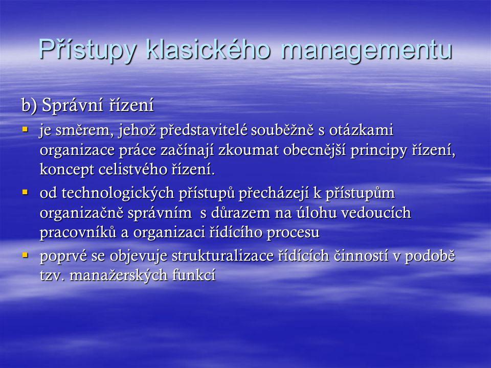 Přístupy klasického managementu