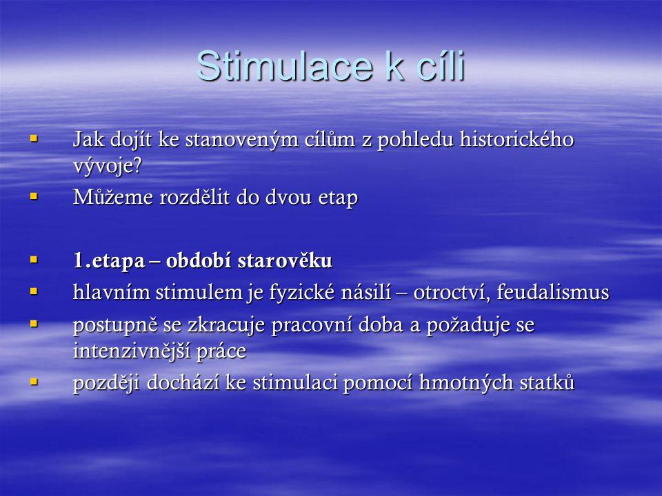 Stimulace k cíli Jak dojít ke stanoveným cílům z pohledu historického vývoje Můžeme rozdělit do dvou etap.