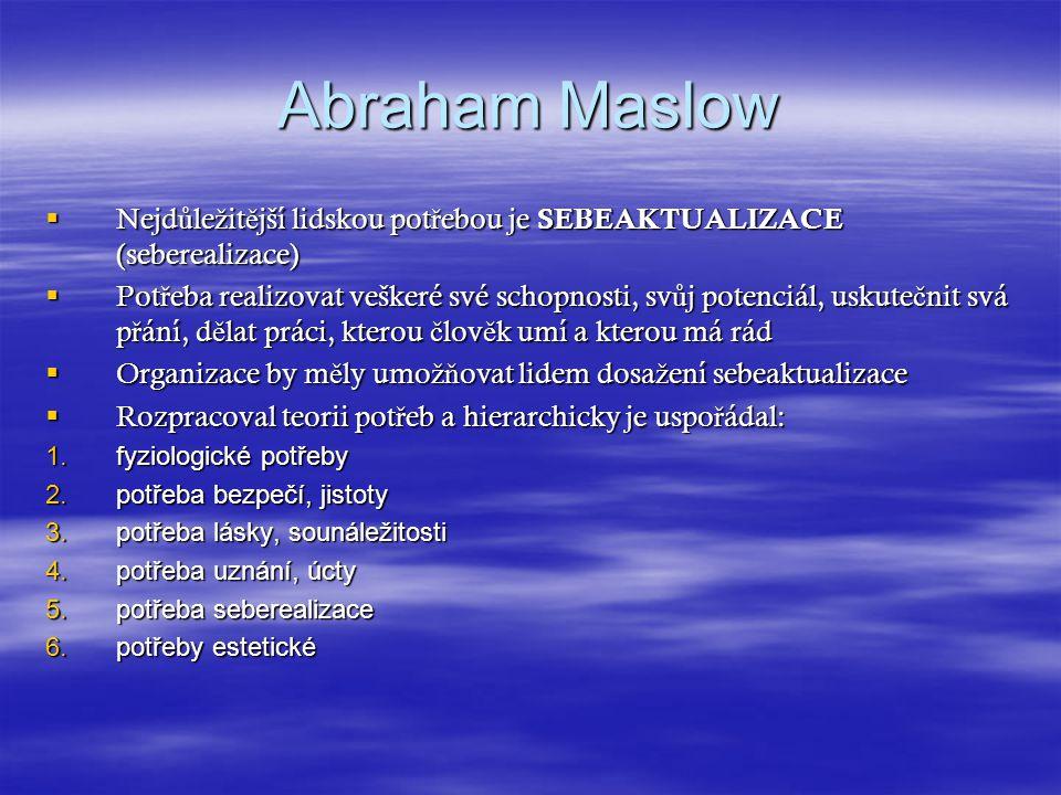 Abraham Maslow Nejdůležitější lidskou potřebou je SEBEAKTUALIZACE (seberealizace)