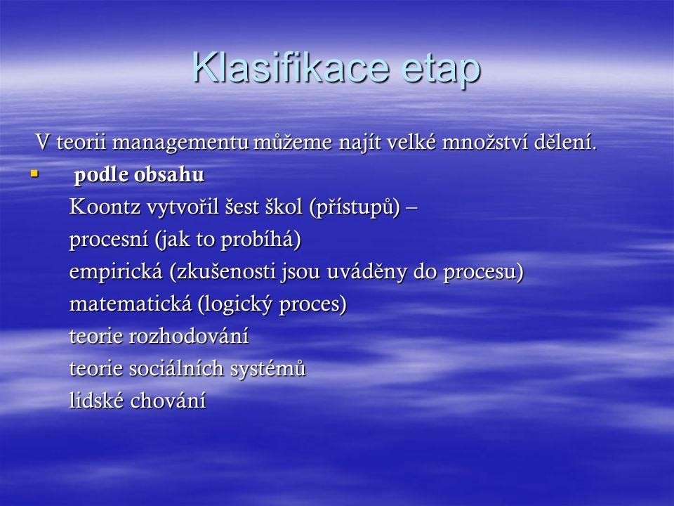 Klasifikace etap V teorii managementu můžeme najít velké množství dělení. podle obsahu. Koontz vytvořil šest škol (přístupů) –