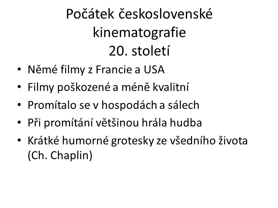 Počátek československé kinematografie 20. století