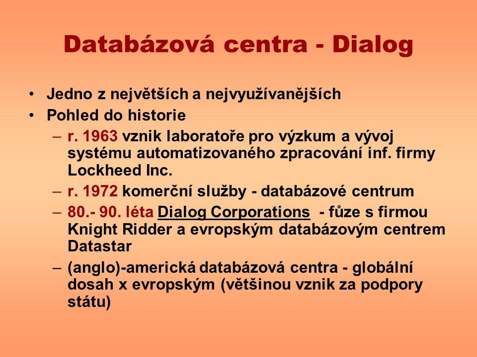 Databázová centra - Dialog