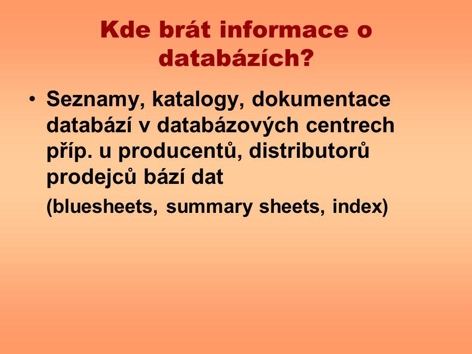 Kde brát informace o databázích