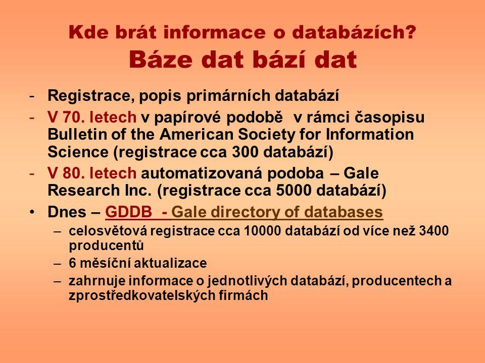 Kde brát informace o databázích Báze dat bází dat