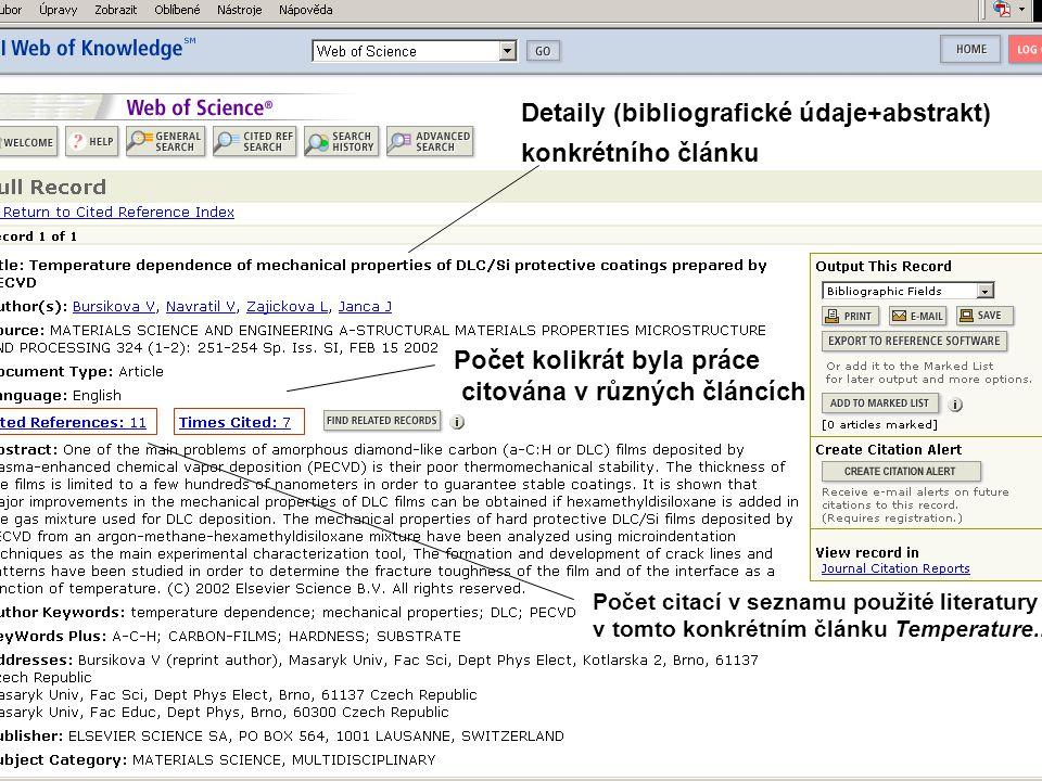 Detaily (bibliografické údaje+abstrakt) konkrétního článku