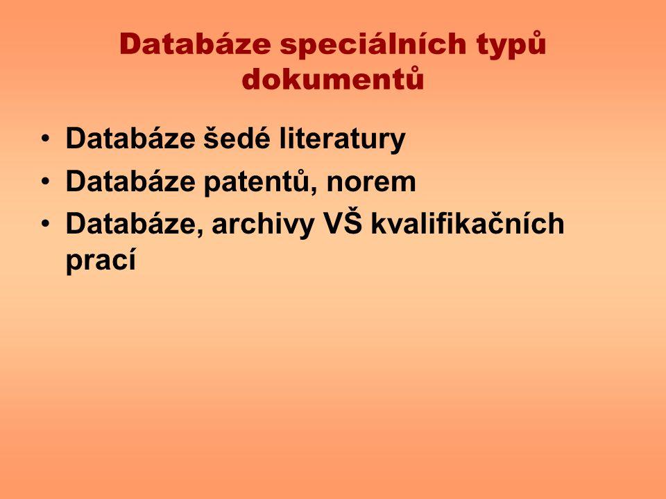 Databáze speciálních typů dokumentů