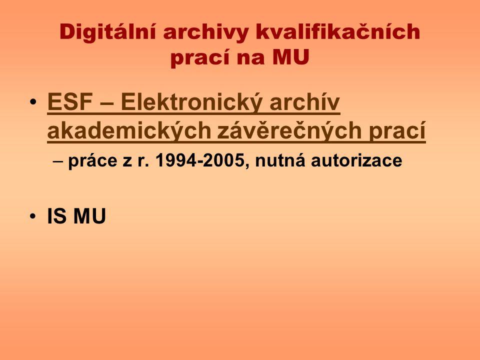 Digitální archivy kvalifikačních prací na MU