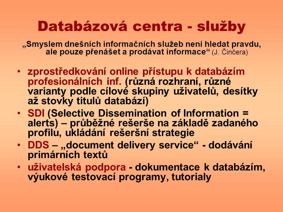 Databázová centra - služby