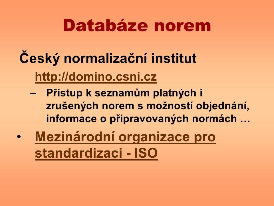 Databáze norem Mezinárodní organizace pro standardizaci - ISO