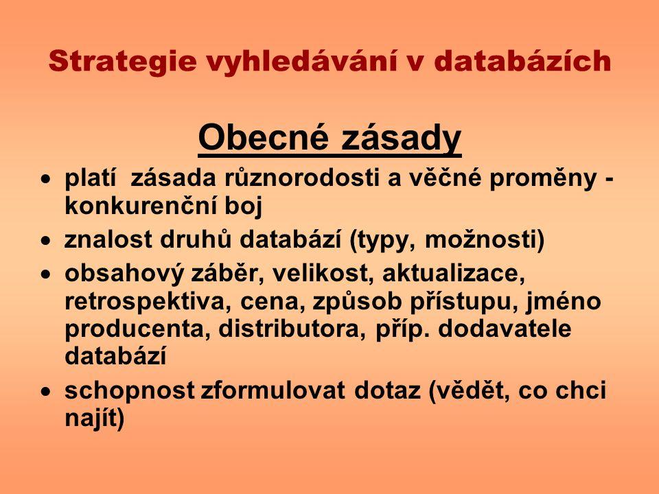 Strategie vyhledávání v databázích