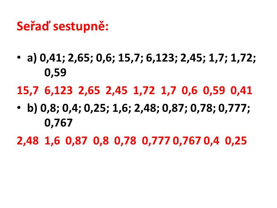Seřaď sestupně: a) 0,41; 2,65; 0,6; 15,7; 6,123; 2,45; 1,7; 1,72; 0,59