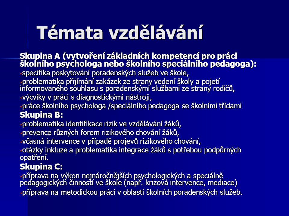Témata vzdělávání Skupina A (vytvoření základních kompetencí pro práci školního psychologa nebo školního speciálního pedagoga):