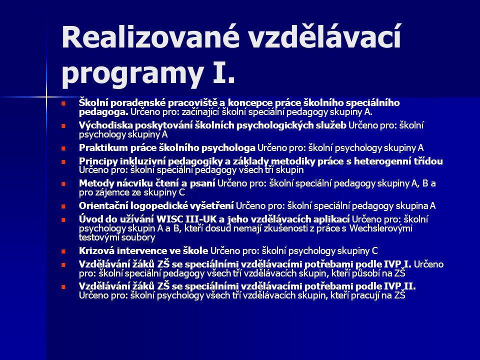 Realizované vzdělávací programy I.