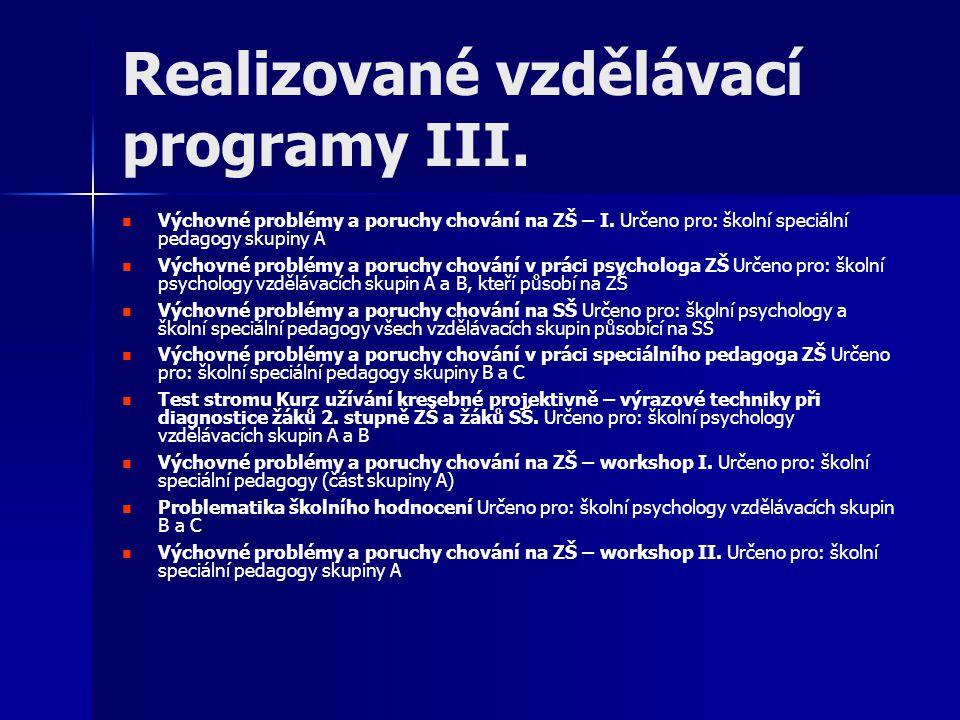 Realizované vzdělávací programy III.