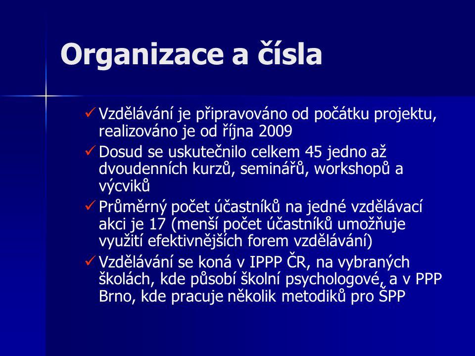 Organizace a čísla Vzdělávání je připravováno od počátku projektu, realizováno je od října 2009.