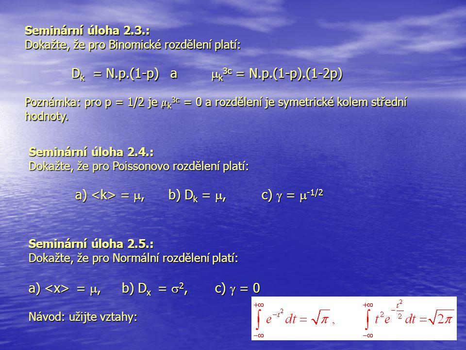 Dk = N.p.(1-p) a k3c = N.p.(1-p).(1-2p)