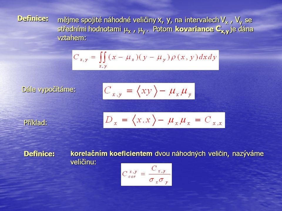Definice: mějme spojité náhodné veličiny x, y, na intervalech Vx , Vy se. středními hodnotami x , y . Potom kovariance Cx,y je dána.