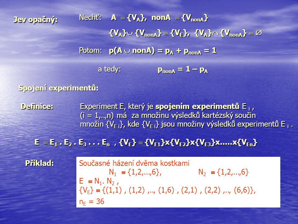 Jev opačný: Nechť: A  {VA}, nonA  {VnonA} {VA} {VnonA}  {VE}, {VA} {VnonA}   Potom: p(A  nonA) = pA + pnonA = 1.