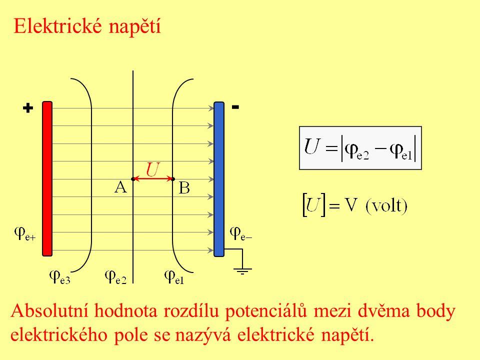 Elektrické napětí + - Absolutní hodnota rozdílu potenciálů mezi dvěma body.