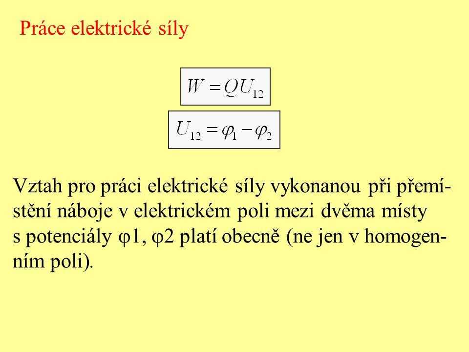 Práce elektrické síly Vztah pro práci elektrické síly vykonanou při přemí- stění náboje v elektrickém poli mezi dvěma místy.