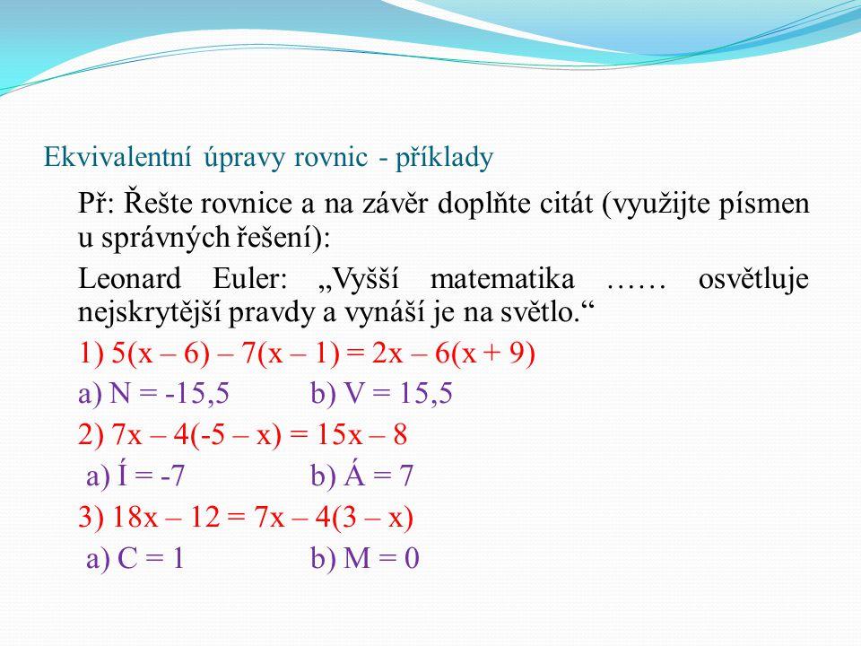 Ekvivalentní úpravy rovnic - příklady