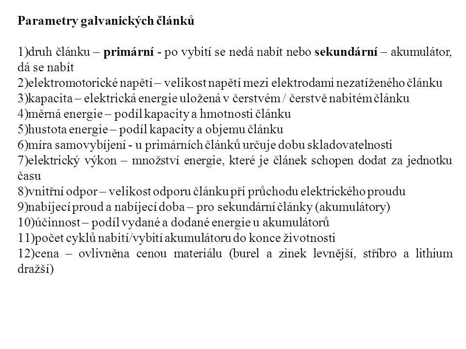 Parametry galvanických článků