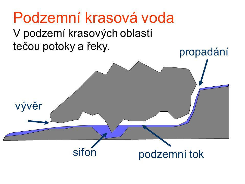 Podzemní krasová voda V podzemí krasových oblastí tečou potoky a řeky.