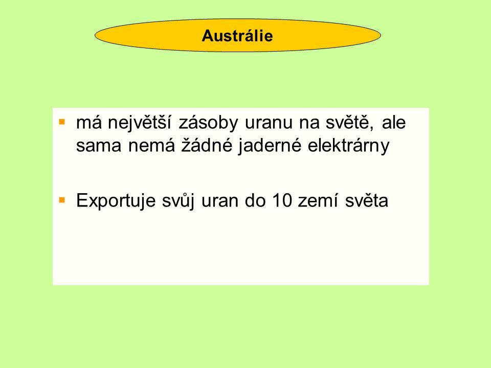 Exportuje svůj uran do 10 zemí světa