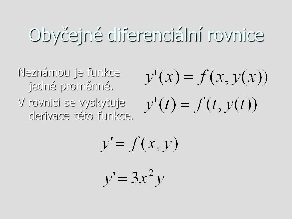 Obyčejné diferenciální rovnice