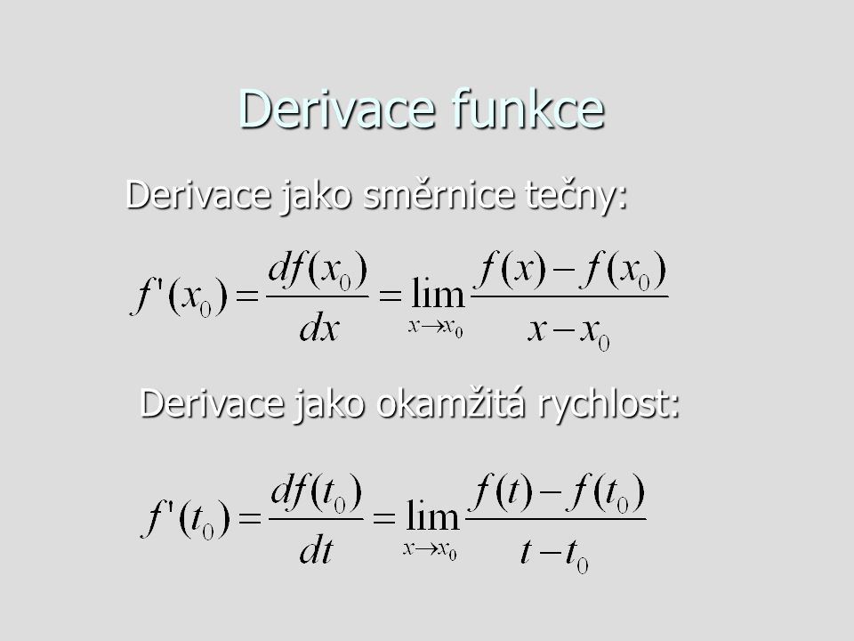 Derivace jako směrnice tečny: