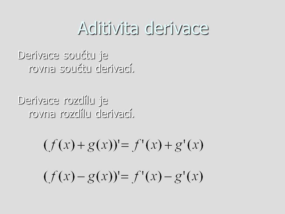 Aditivita derivace Derivace součtu je rovna součtu derivací.