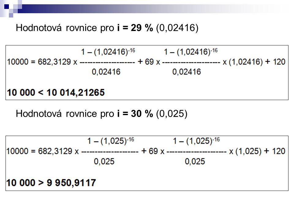Hodnotová rovnice pro i = 29 % (0,02416)