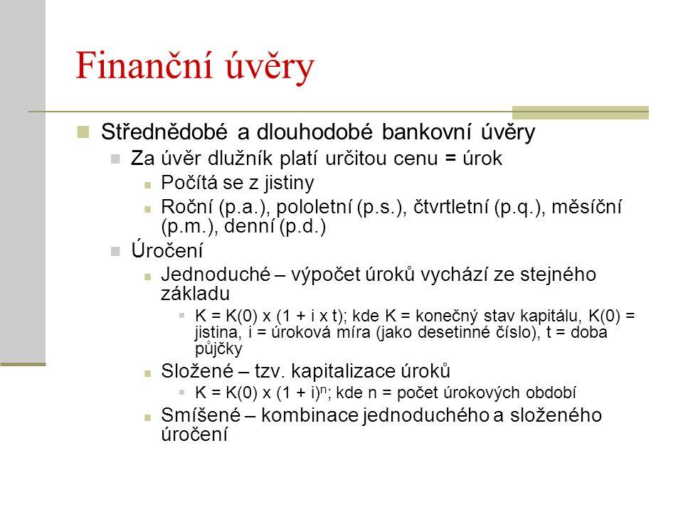 Finanční úvěry Střednědobé a dlouhodobé bankovní úvěry