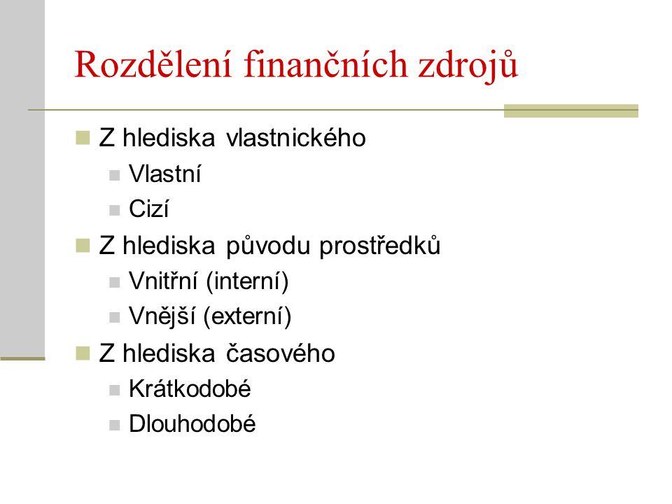 Rozdělení finančních zdrojů