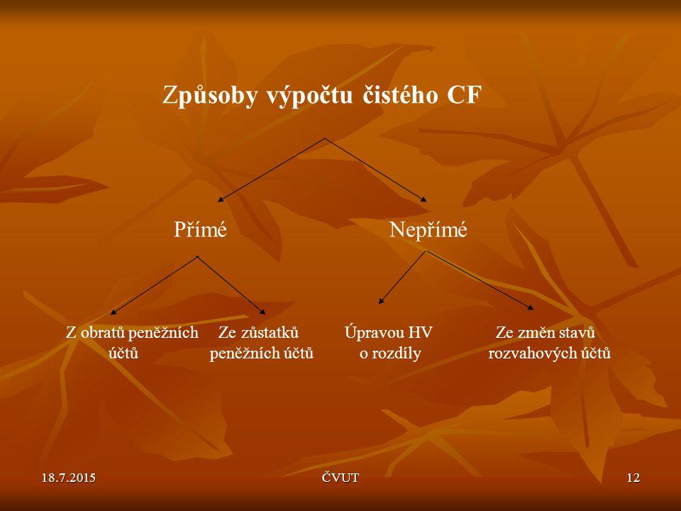 Způsoby výpočtu čistého CF