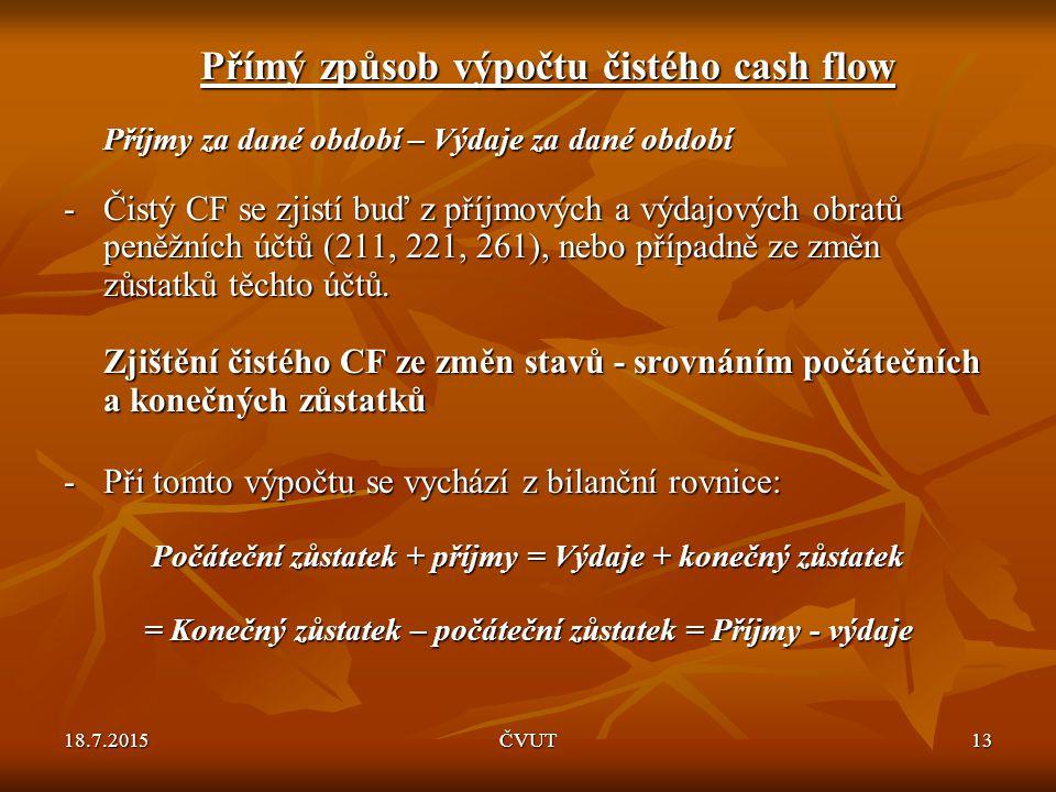 Přímý způsob výpočtu čistého cash flow