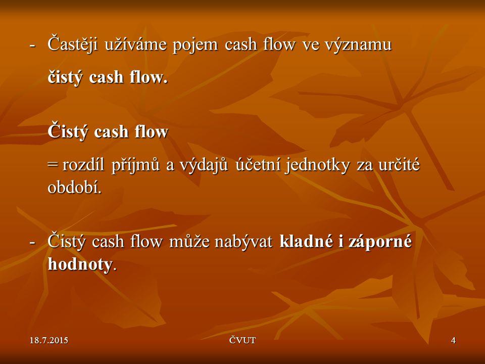 - Častěji užíváme pojem cash flow ve významu čistý cash flow.