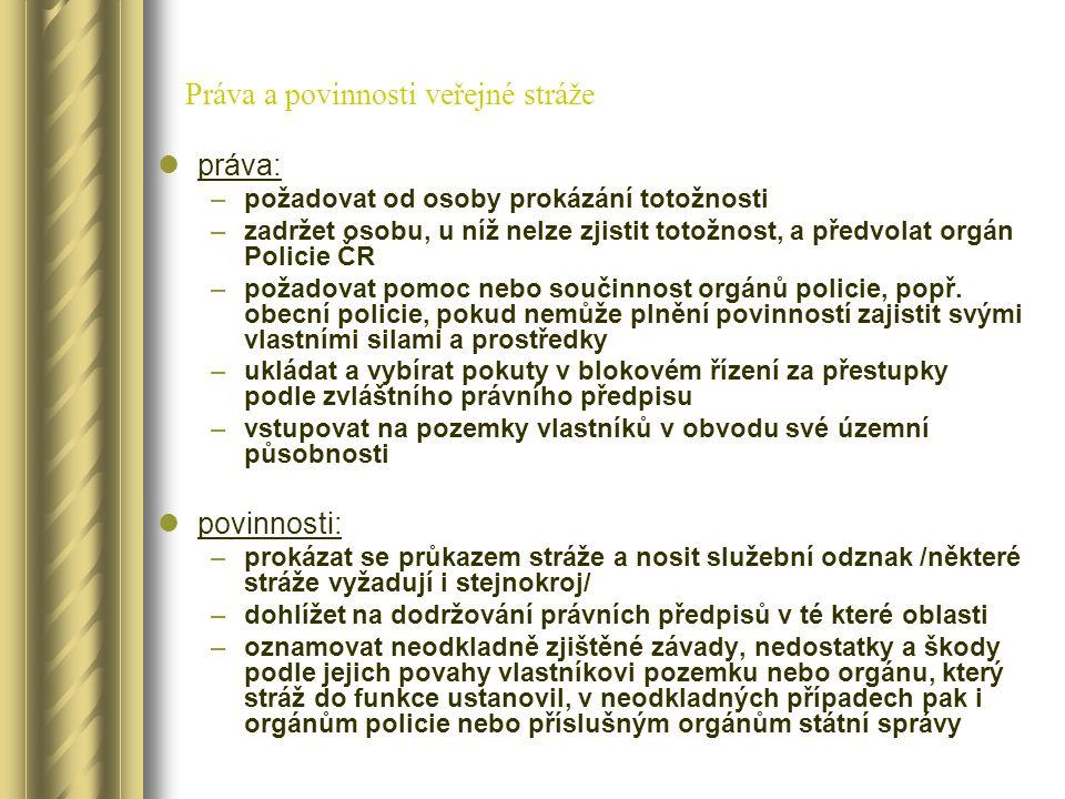 Práva a povinnosti veřejné stráže