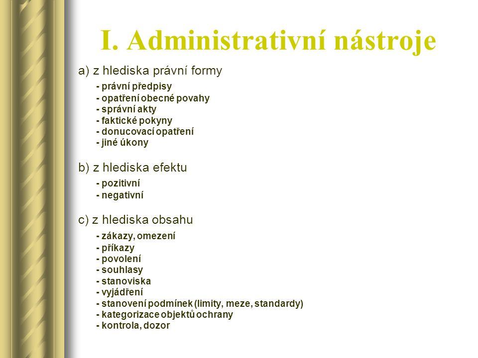 I. Administrativní nástroje