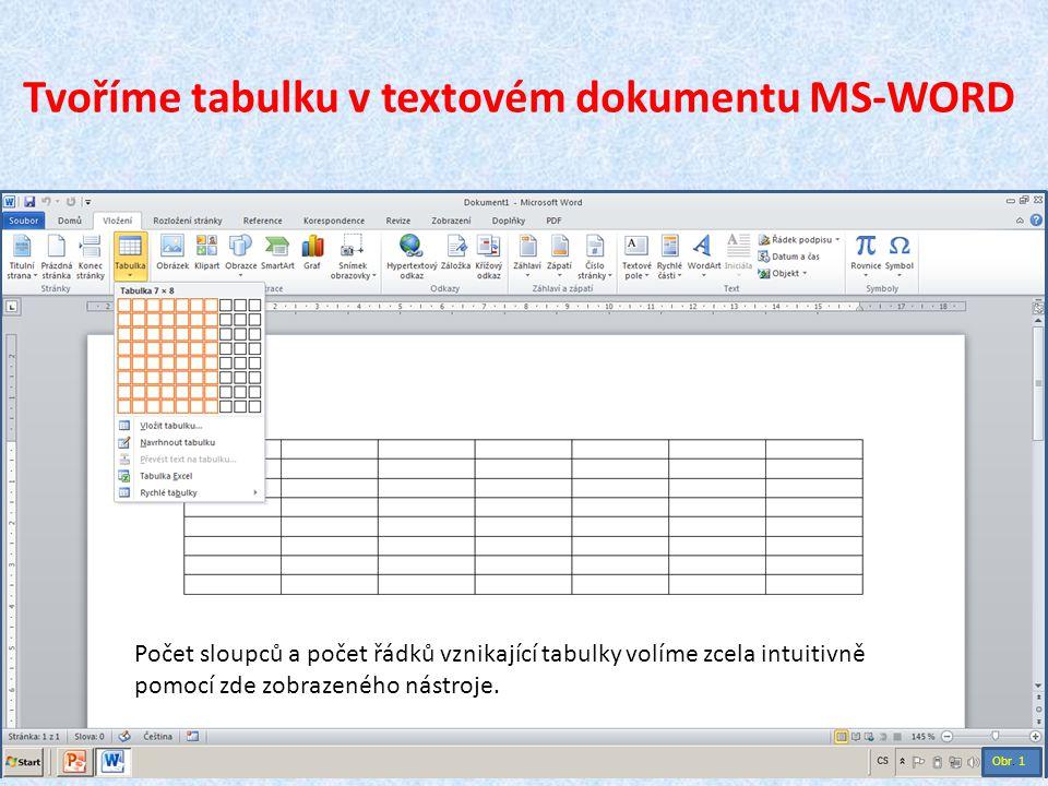 Tvoříme tabulku v textovém dokumentu MS-WORD