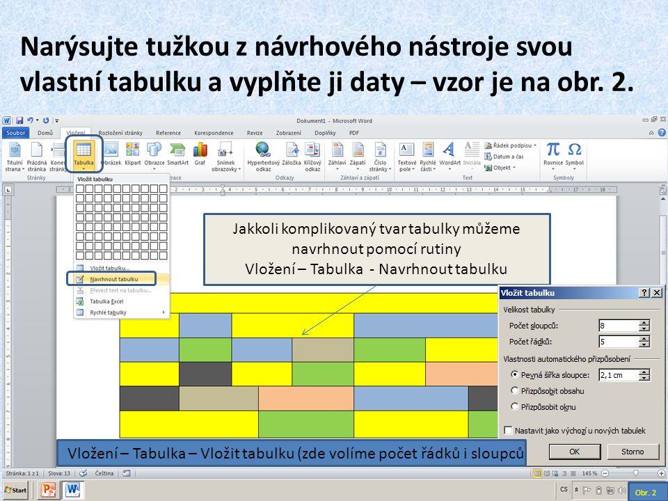 Narýsujte tužkou z návrhového nástroje svou vlastní tabulku a vyplňte ji daty – vzor je na obr. 2.