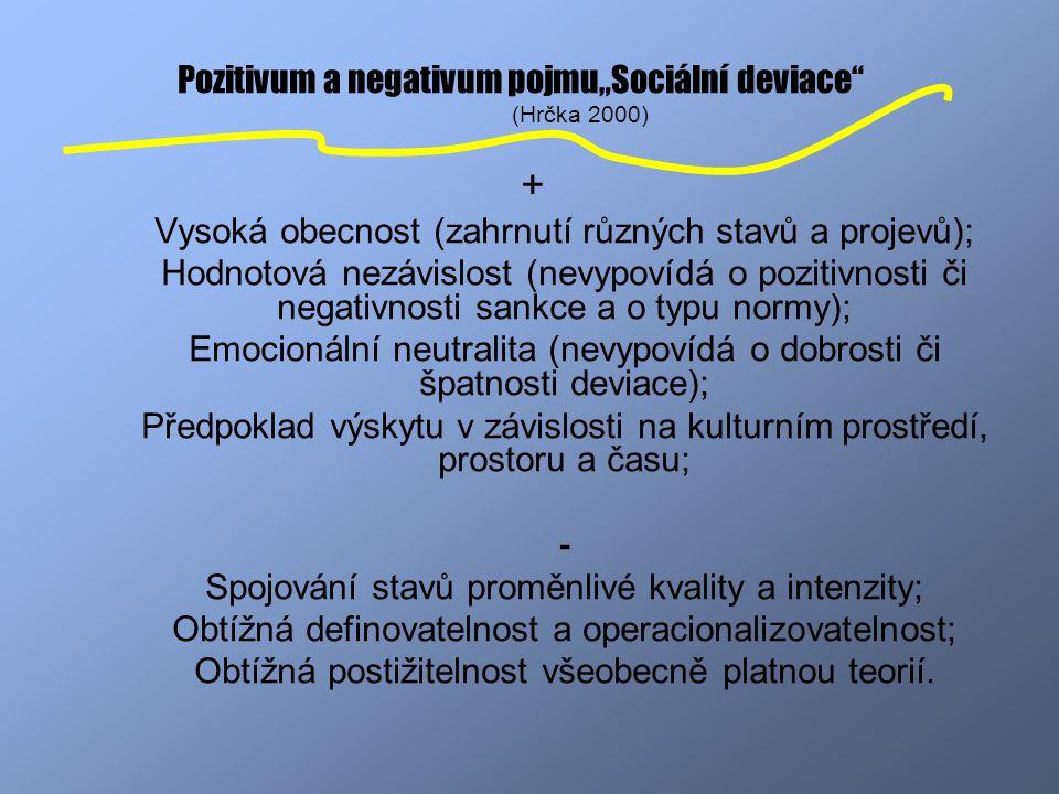 """Pozitivum a negativum pojmu""""Sociální deviace (Hrčka 2000)"""
