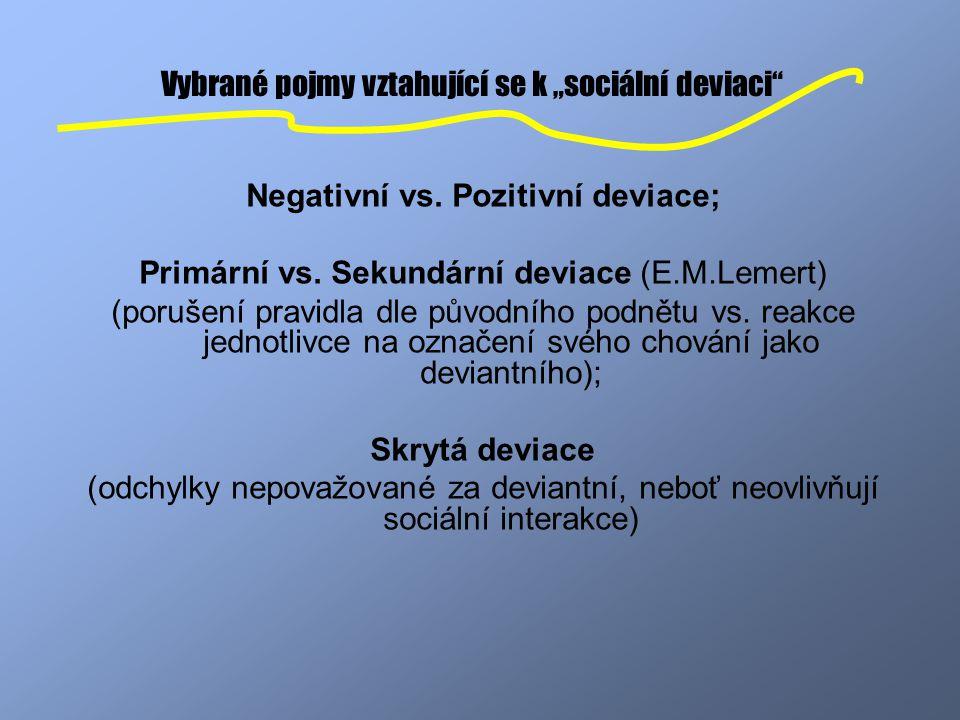 """Vybrané pojmy vztahující se k """"sociální deviaci"""
