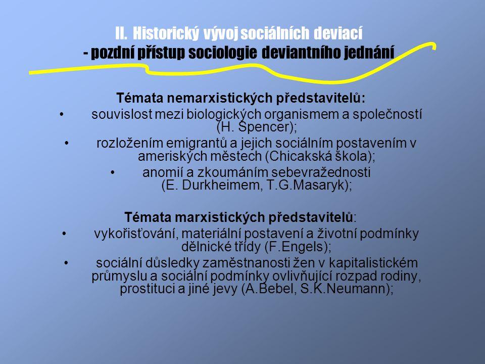 Témata nemarxistických představitelů: