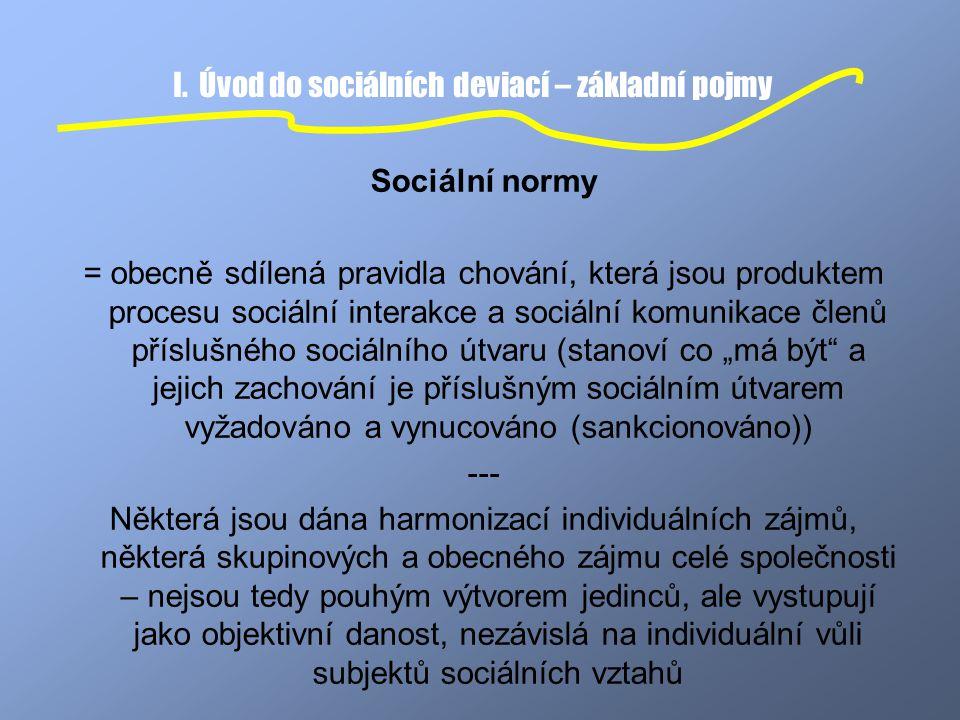 I. Úvod do sociálních deviací – základní pojmy