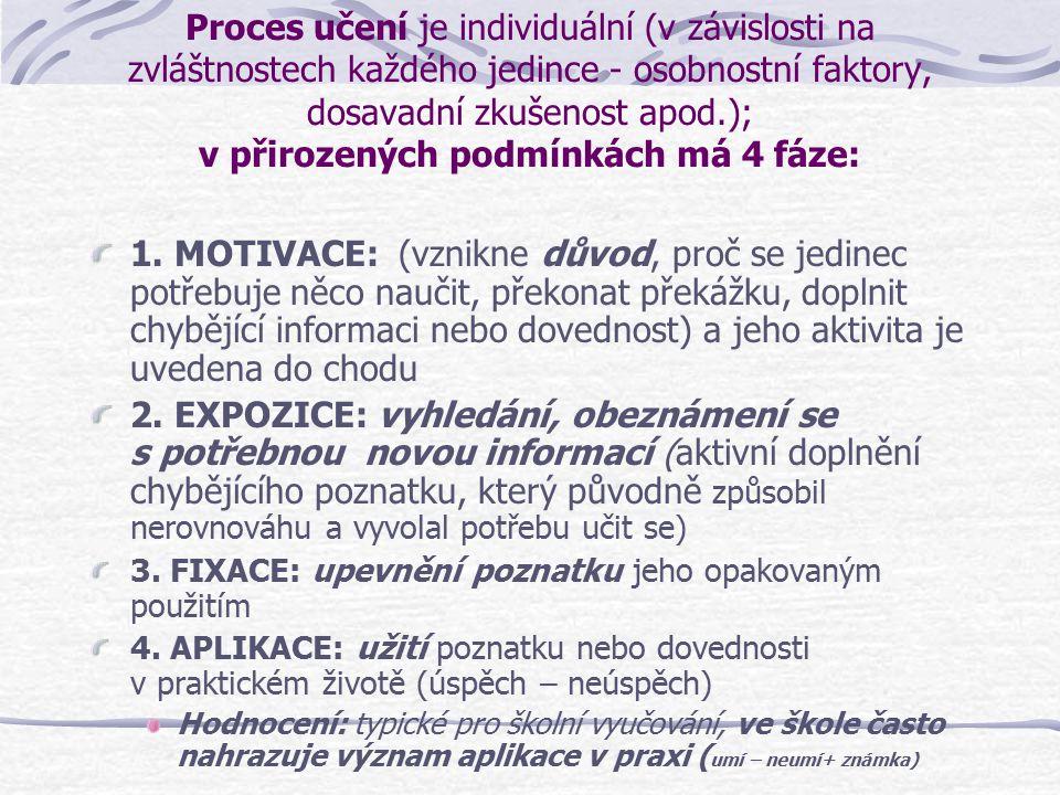 Proces učení je individuální (v závislosti na zvláštnostech každého jedince - osobnostní faktory, dosavadní zkušenost apod.); v přirozených podmínkách má 4 fáze: