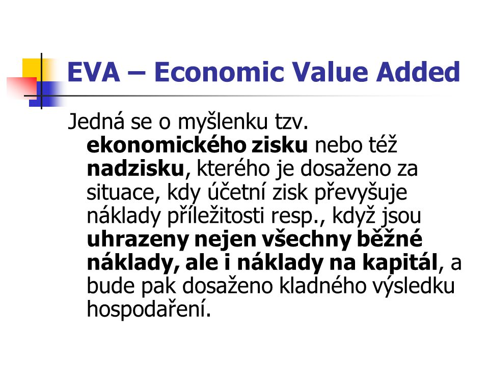 EVA – Economic Value Added