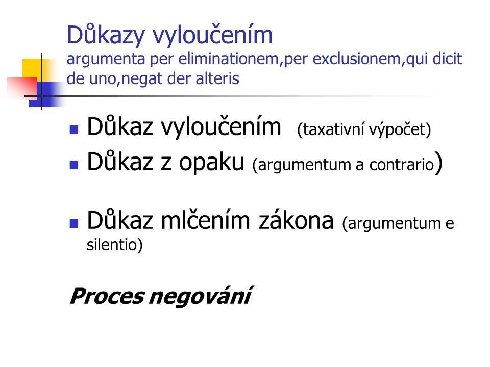 Důkaz vyloučením (taxativní výpočet)