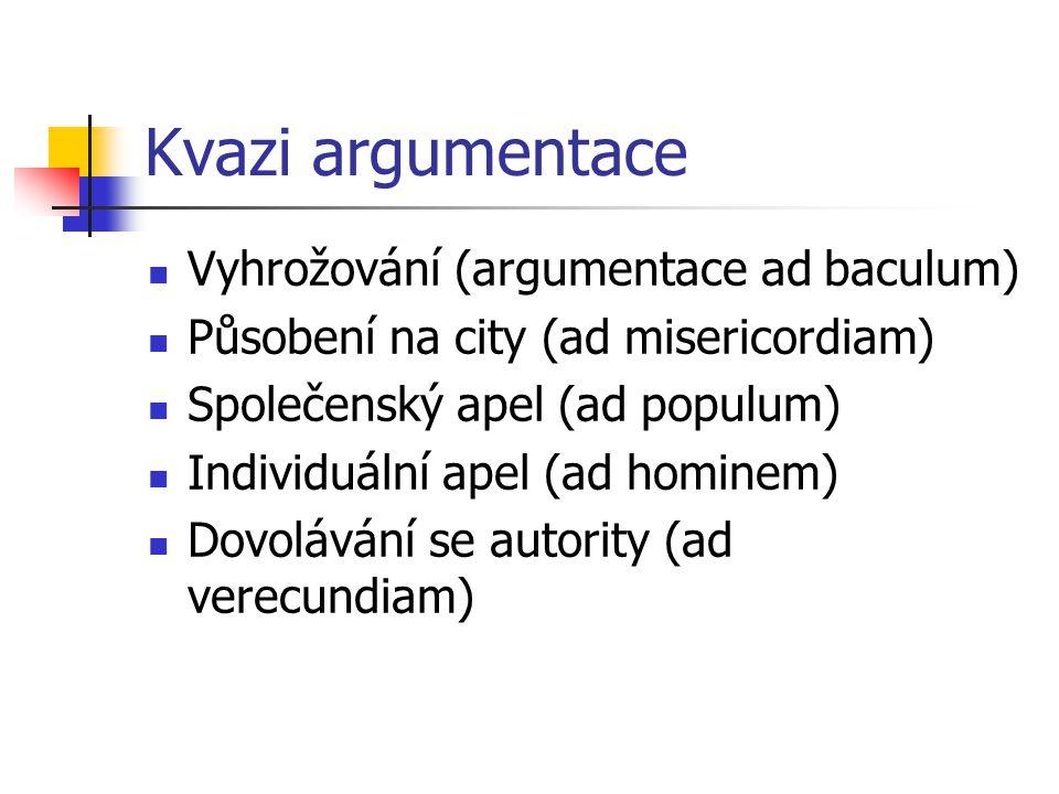 Kvazi argumentace Vyhrožování (argumentace ad baculum)