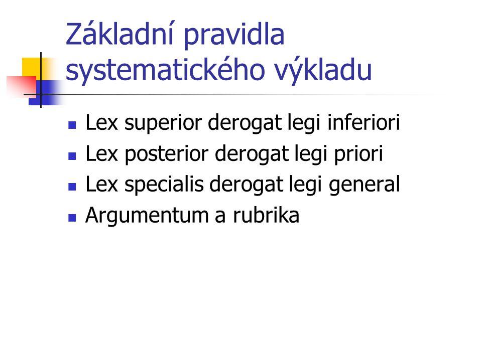 Základní pravidla systematického výkladu